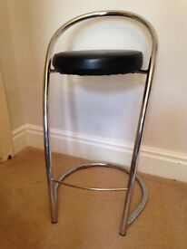 Pair of chrome and black 'Effezeta' bar stools