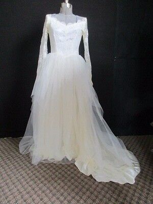 Antique Wedding Dress Silk Train Lace Arms Silk buttons Material Fabric Reuse