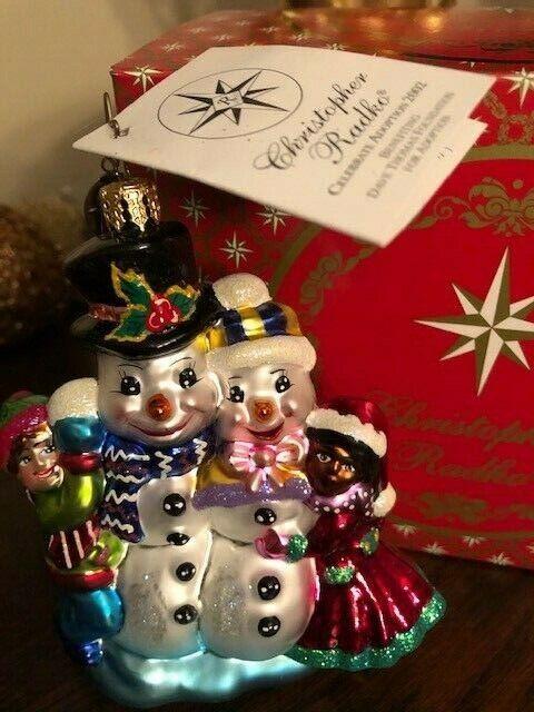 Radko Celebrate Adoption 2002 Glass Ornament Mint Rare Red Box Gift Snowman HTF