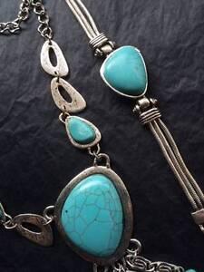 Silver & Turquoise Necklace & Earrings / Necklace & Bracelet Set Ferryden Park Port Adelaide Area Preview