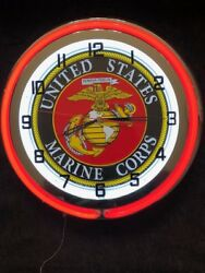 United States Marines Corps red Neon Clock NEW IN BOX 18 inch double neon clock
