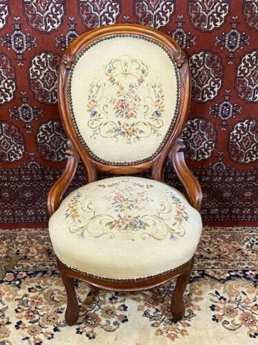 Antique Walnut Victorian Parlor Chair / Side Chair