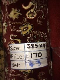 Red Bloomingdale Patterned Carpet Remnant (3.85 x 4.00 metres) for £80 - REF: 043