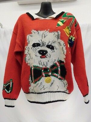 JENNIFER REED CONCEPT HAND KNITTED UGLY CHRISTMAS SWEATER RED LASA SHIH TZU DOG ()