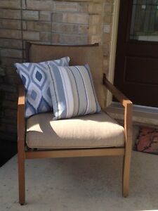 Outdoor Patio Chair and Two Decorative Pillows