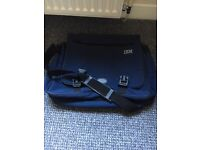 Blue fabric laptop bag. Good condition