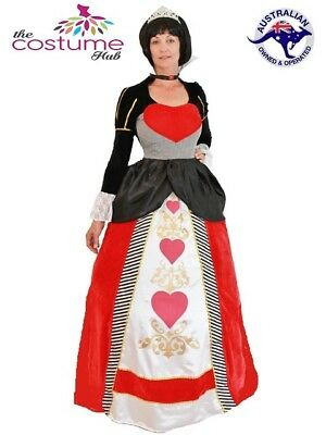 Deluxe Queen of Hearts Adult Fairytale Long Fancy Dress Gown Costume 8-20 PLUS