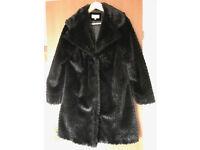 M&S Per Una Ladies Faux Fur Coat Medium Size