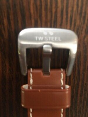 Authentic TW Steel Tan Genuine Leather Watch Strap w/ Silver Buckle 22mm