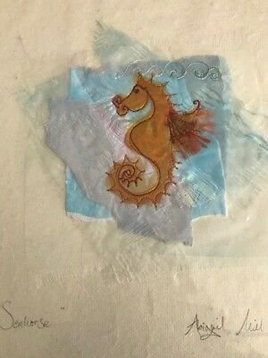 ABIGAIL MILL Original Art Seahorse Embroidery Painting Childrens Bedroom Picture