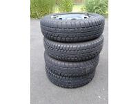 Set of four winter tyres on VW Polo steel wheels