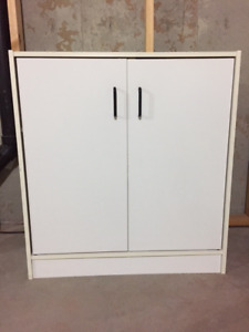 White Wood Drawer with door and shelves