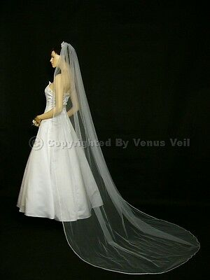 1T Ivory Bridal Cathedral Length Pencil Edge Wedding Veil Edge Cathedral Length Veil