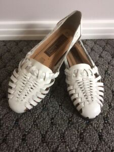 Summer Woven Sandals - Size 6.5 - White Leather