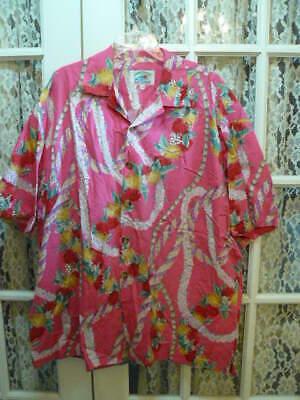 HAWAIIAN SHIRT PINK W/LAVENDER LEIS-RED&YELLOW LEIS-MEN 3XL-PARADISE ON A - Pink Leis