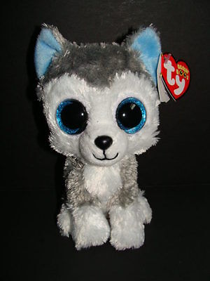 Nwt Ty Beanie Boos 6  Slush Husky Dog Plush Boo Blue Sparkly Eyes Glitter New