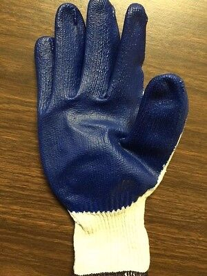 120 PAIR BLUE LATEX PALM COATED STRING KNIT GLOVES LARGE NEW 10 - Latex Palm Coated Knit Gloves