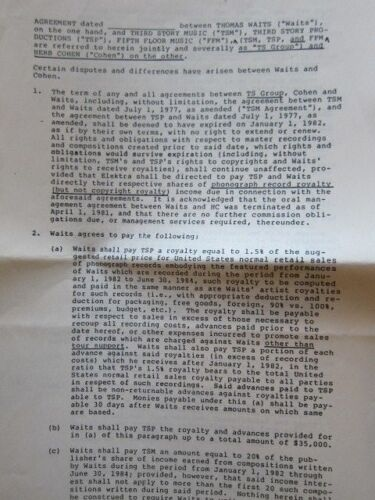 TOM WAITS amended agreement contract unsigned  original Herb Cohen file