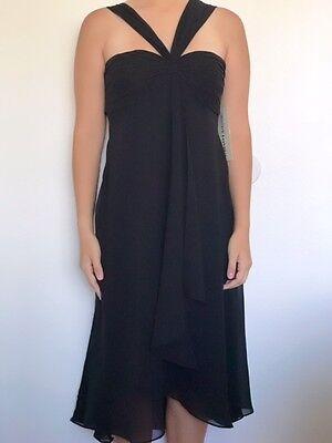 Maggy London Chiffon Dress - MAGGY LONDON Women NWT Black chiffon sheer midi dress size 4 Convertible 1001