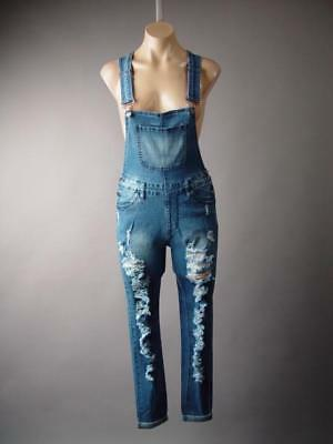 (Plus Destroyed Ripped Skinny Jeans Denim Pant Dungarees 242 mv Overalls 1X 2X 3X)