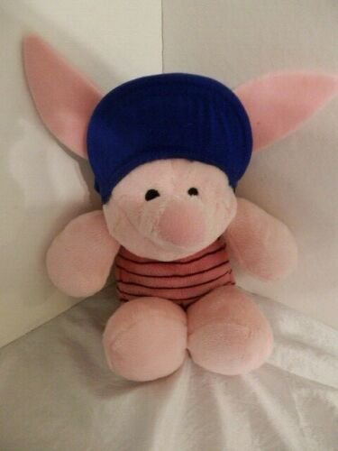 "Disney Pink Plush Piglet wearing blue cap/hat  from Winnie the  Works-12""-Clean!"
