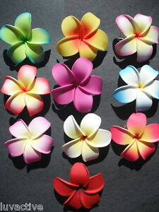 Set of 10 Hawaiian Plumeria Foam Flower Hair Clips Pointed Petal Tips  Bridal