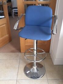 Two Blue Leather Covered Breakfast Bar Chairs