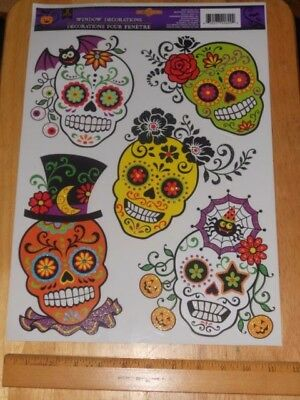 Skull Deco Decals Window Clings Halloween or Mexican All Souls Day of The Dead.. - All Souls Day Halloween