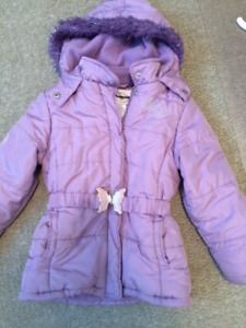 Girls purple coat with butterfly clasp, size 6x