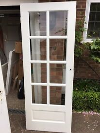 White doors with glass panels