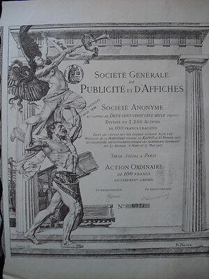 Publicité et d'Affiches S.A.   1907 Gründeraktie
