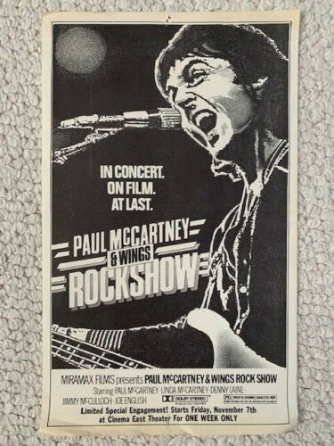 PAUL MCCARTNEY WINGS ROCKSHOW MOVIE FLYER FROM 1980    BEATLES    VERY RARE