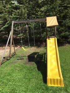 kids cedar swing/slide set