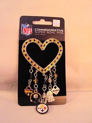 Pittsburgh Steelers NFL Black Gold Rhinestone Silver Heart 5 Charm Brooch Pin