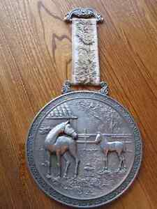 PEWTER WALL HANGING Vtg Large & Heavy Two Horses Mare & Colt