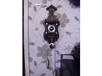 vintage dutch wall clock converted to quartz battery time and pendulum movement,