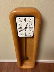 Mid Century Modern Howard Miller Arthur Umanoff Pendulum Wall Clock - Oak Case