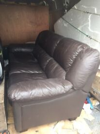 Brown Leather 3 Seater Sofa FREE TO COLLECT