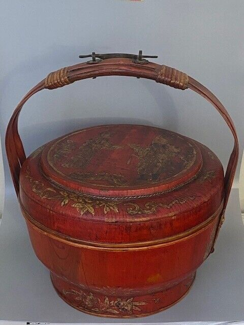 Antique Chinese Painted Wooden Wedding Bucket Basket Red +Gold Gilt Calligrapphy