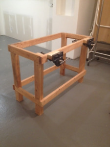 "Work bench with three  7""  quick release Woodworking vises"
