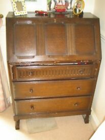 OAK BUREAU with 3 drawers and a drop down flap for writing