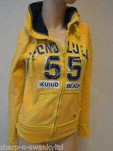 NEW-LOOK-Ladies-Yellow-Blue-Zip-Through-Hoodie-Hooded-Jacket-Top-UK-8-EU-36