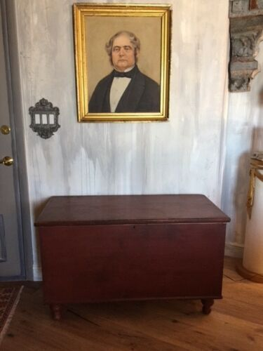 Antique Pennsylvania Red Paint Primitive Pine Blanket Chest Trunk