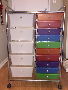 15 Drawer Multi-Colour Rolling Storage Cart PPU