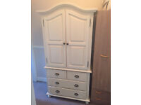 Beautiful off white / cream child's nursery antique style wardrobe and 4 x drawers unit.
