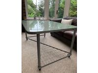 Glass and Steel Desk/Table