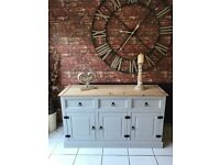 Rustic Pine Sideboard French Painted in Paris Grey Shabby Chic