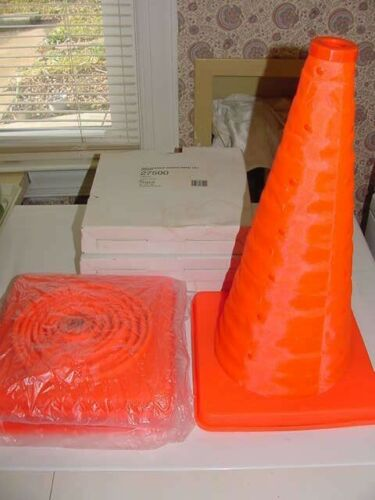 """3 - Tatco 27500 18"""" Solid Orange Collapsible Traffic Cone Caution Warning - NEW"""