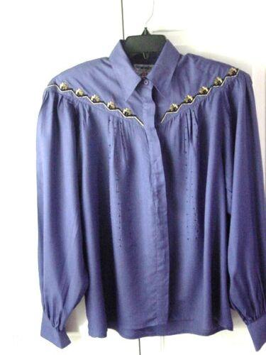 Womens/Ladies Grape Purple w/Beads WRANGLER Long Sleeve Button Front Shirt~Sz LG