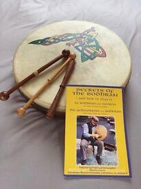 "14"" Bodhran - natural goatskin head plus beaters, bag and book."